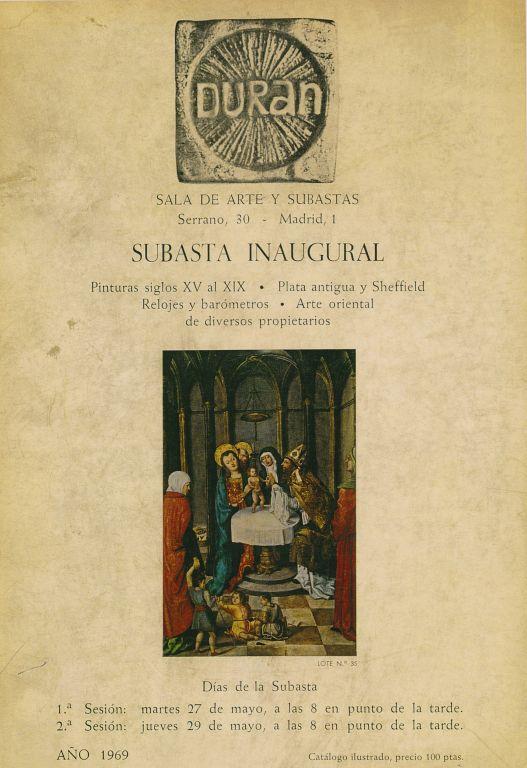 Portada del catálogo de la Subasta Inaugural, celebrada el martes 27 de mayo de 1969. Foto: Durán Arte y Subastas.