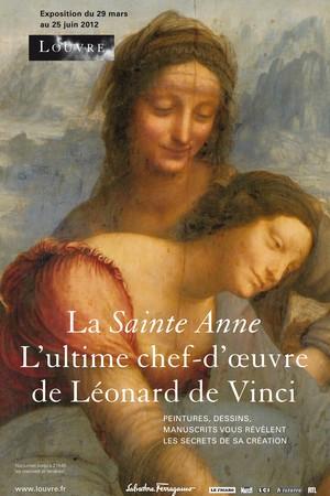 Gráfica de la exposición de la Santa Ana de Leonardo Da Vinci en la que se aprecia el logo de la Casa Ferragamo como patrocinador en exclusiva