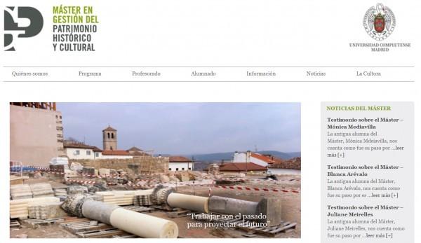 Página Web del Máster de Gestión del Patrimonio Histórico y Cultural