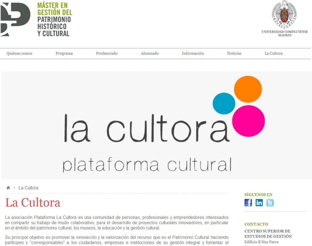 Espacio en web del MGPHC dedicado a La Cultora. www.mastergestionpatrimoniocultural.com