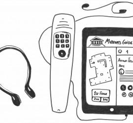 Dispositivos empleados para la difusión de los contenidos de una audioguía. Ilustración realizada por Almudena López Molina. Extraída del texto reseñado