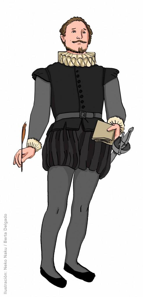 Miguel de Cervantes. Ilustración de Neko Naku / Berta Delgado