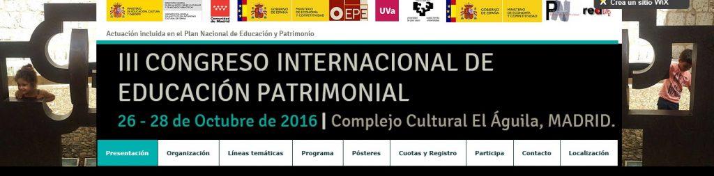 Página Web III Congreso Internacional de Educación Patrimonial